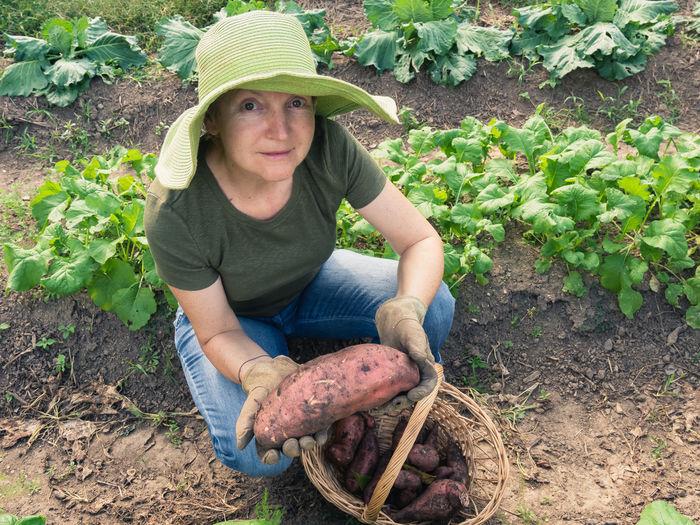 Portrait of woman in a garden