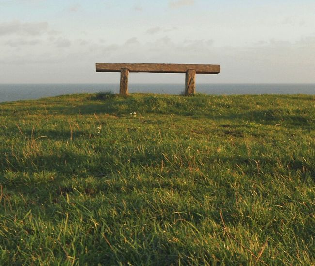 For watching the Sea & waiting. .. Bench Cliff Seaside Grass Cliffs Море скамейка берег обрыв