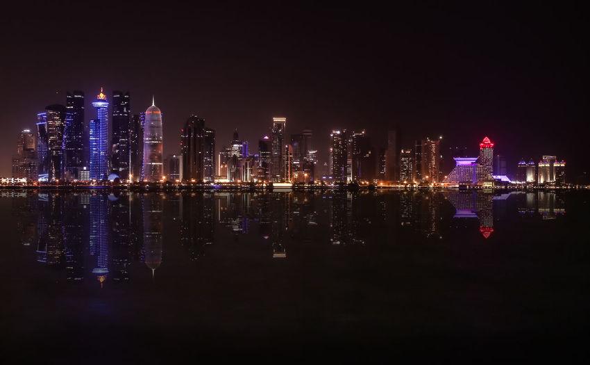 Doha skyline Night Illuminated City Cityscape Skyscraper Urban Skyline City Life Reflection Travel Destinations Building Exterior Architecture Sky Google Pixel Wallpapers Nightshot Doha Doha,Qatar No People EyeEmNewHere The Week On EyeEm