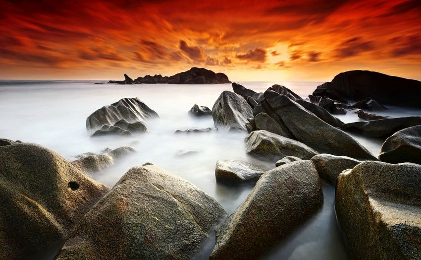 The sleeping giant, sunrise at Penunjuk Beach, Kemaman Terangganu, Malaysia Sunset Sunrise Beach Seascape Rock Long Exposure Nature Landscape Sky Travel Vacation Holiday Coastline EyeEm Gallery Eyeem Market Eyeem Collection Eyeemphotography Getty Images EyeEm Nature Lover Eyeem Photography EyeEm Best Shots Wallpaper Terengganu Malaysia capturing motion