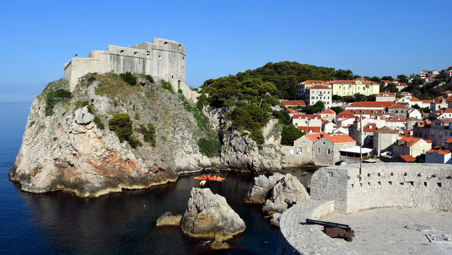 Blue Castle Clear Sky Outdoors Rock Sky Stone Travel Destinations Water