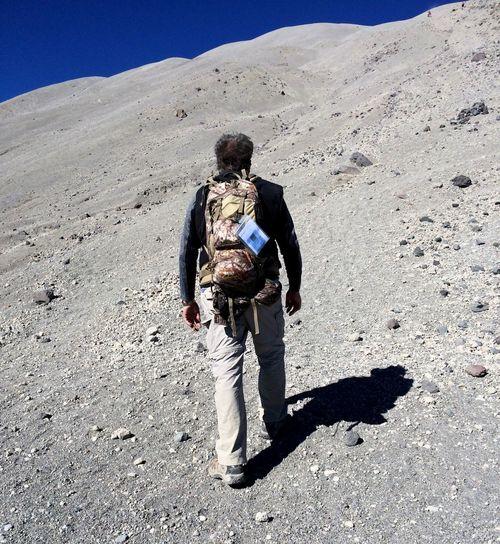 Full length of man standing on landscape