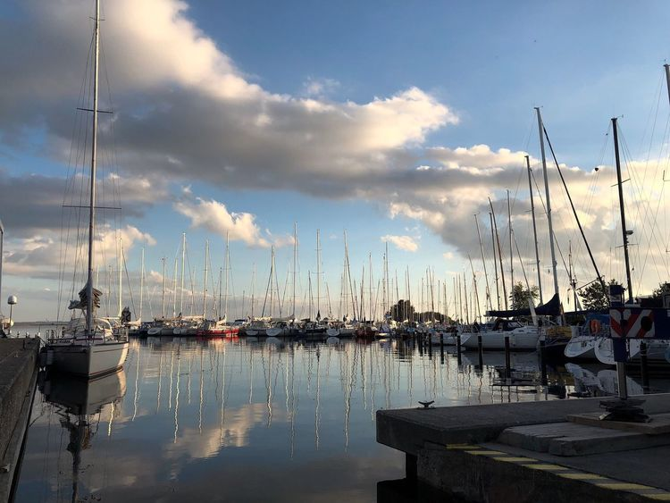 Fehmarn Germany Cloud - Sky Sky Water Nautical Vessel Reflection Sailboat Transportation Mast Pole Mode Of Transportation Moored Harbor Nature No People Beauty In Nature Tranquility Sea Scenics - Nature Outdoors Marina