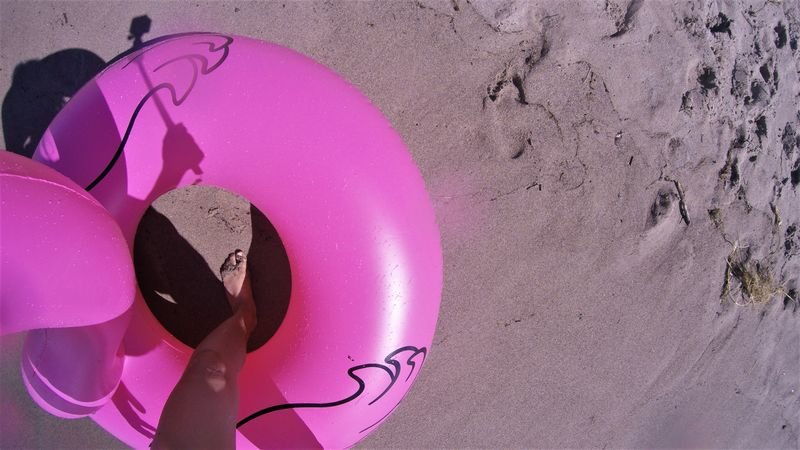 flamingo Beach Circle Close-up Day Flamingo Grand Bend, Ontario High Angle View Lake Huron Lake Huron, Canada Lifebuoy Lifestyles Millennial Pink Nature No People Outdoors Pink Pink Color Sand Summer Summertime Swim Swimming Tube Vacations Water Tube Sommergefühle Done That. Connected By Travel
