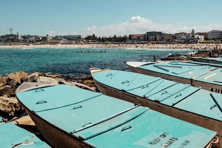 Australia Beach Beachphotography Beautiful Blue Boat Boats Bondi Beach Day Fresh Iconic Landscape Landscape_Collection Ocean Outdoors Postcard Rocks Sea Sky Summer Swimming Sydney Travel Destinations Turquoise Water