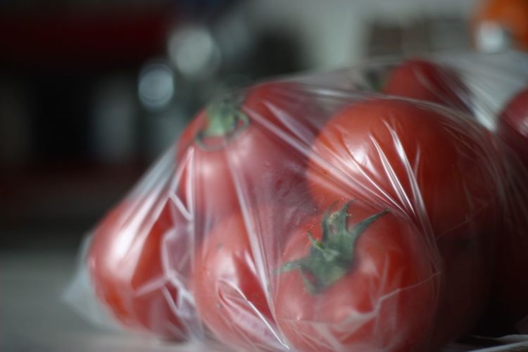 Close-up of tomatoes in plastic bag