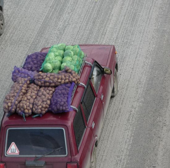 Transportation Mode Of Transportation Food And Drink High Angle View Land Vehicle Food Day No People Container Outdoors Choice Vegetable Business Variation Freshness Retail  Motor Vehicle City Wellbeing Large Group Of Objects