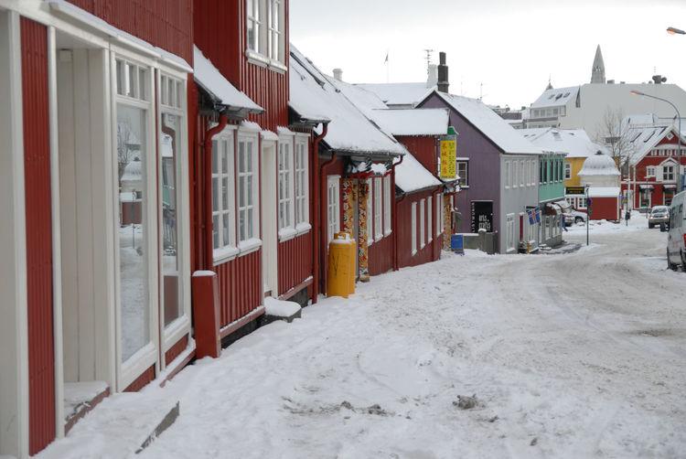 View of buildings in winter