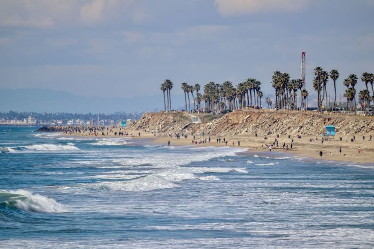 coastline of Huntington Beach California Water Sea Sky Land Beach Beauty In Nature Nature Scenics - Nature Motion Waterfront Wave Cloud - Sky Tree Tropical Climate Sport Day Palm Tree Outdoors Surfing Huntington Beach Orange County California Southern California Coastline Coastal Dog Beach Palm Trees Pacific Ocean