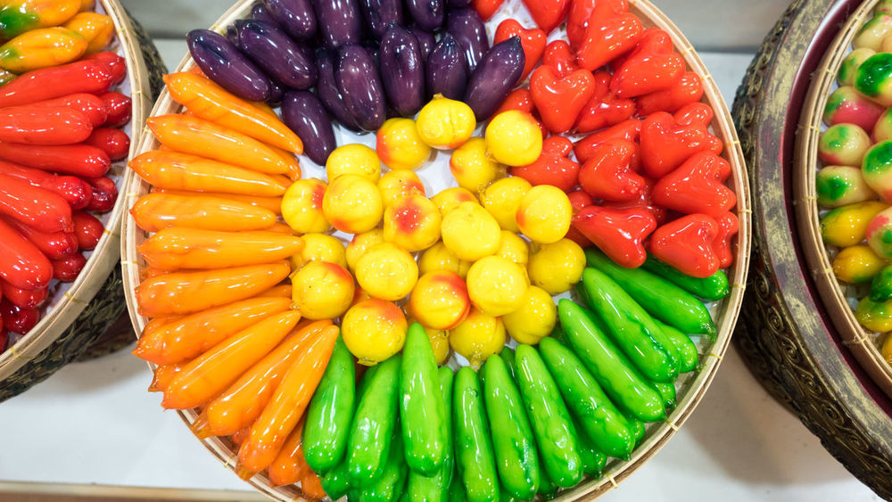 DELETABLE IMITATION FRUITS (KANOM LOOK CHOUP) Close-up Day Deletable Imitation Fruits Food Food And Drink Freshness Healthy Eating Indoors  Multi Colored No People Ready-to-eat Still Life Table