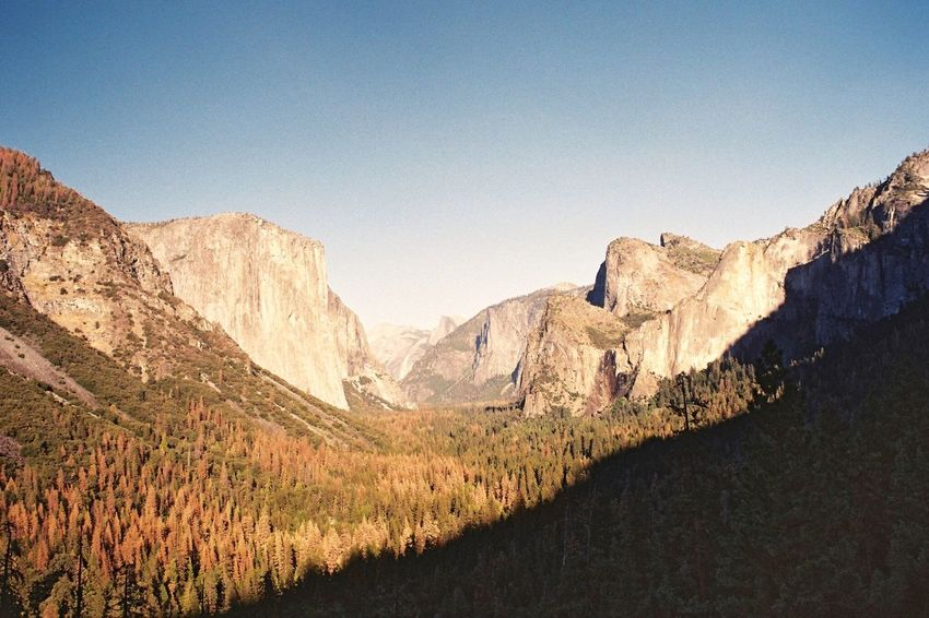 Yosemite National Park Filmisnotdead Film Photography Film Analogue Photography Mountain Mountain Range Landscape Scenics Nature Rock - Object Beauty In Nature Tranquility Travel Destinations No People Tranquil Scene Physical Geography Outdoors Day Clear Sky Cliff Tree Sky Leisure Activity Hiking