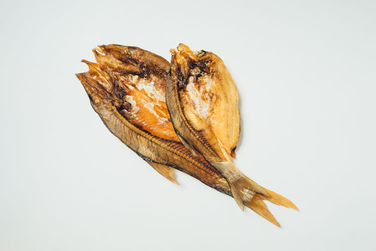 White Background Close-up Food Dry Dried High Angle View Fish Uncooked Chinese Smoke-dried Fish