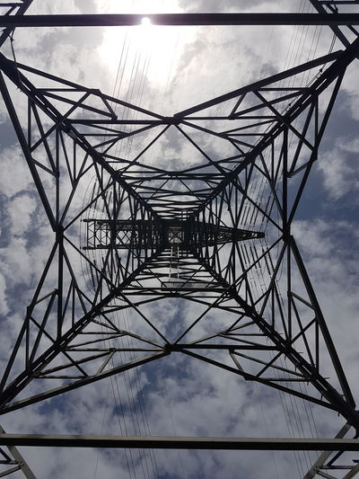 Sky Electricity Pylon Connection Power Supply Electricity  Cloud - Sky Cable Symmetry Outdoors Metal Low Angle View Day No People Built Structure Concentric Tree Nature Digitally Generated Streetphotography Melbourne City Street Photography Pattern Full Frame Textured