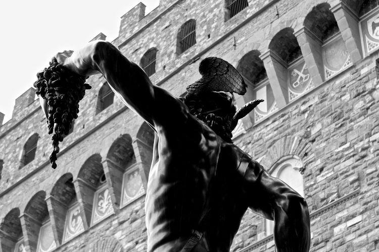 Perseus Statue Holding Head Of Medusa Beside Palazzo Vecchio