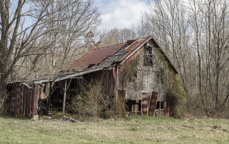 Decaying barn. Architecture Bare Tree Barn Barns Building Exterior Built Structure Countryside Day Nature No People Outdoors Rural Rural Decay Rusty Roof Rusty Stu Sky Tree