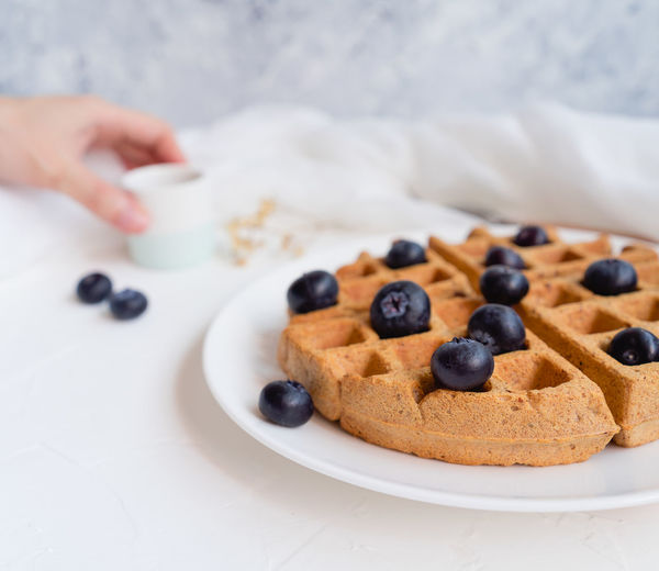 Waffles with blueberries Bright Food And Drink Freshness Light Ready To Eat Snack Snack Time! Waffle Waffles Blueberry Breakfast Brightly Lit Close Up Close-up Focus On Foreground Food Food And Drink Food Photography Foodphotography Fresh Freshness Light And Shadow Ready-to-eat Temptation Yummy