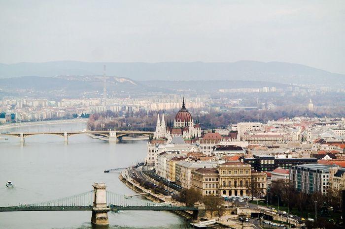 Budapest, March 2016. Budapest Hungary Bridges Parliament