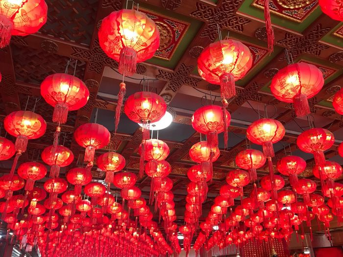 Lighting Equipment Decoration Red Chinese Lantern Hanging Lantern Illuminated Chinese Lantern Festival Traditional Festival Chinese New Year No People Celebration Low Angle View Holiday Event Large Group Of Objects Festival Electric Lamp Ceiling