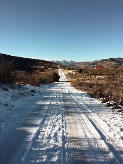 walking the dog on the snow covered road we live on. Utah Wasatch Mountains Wasatch County