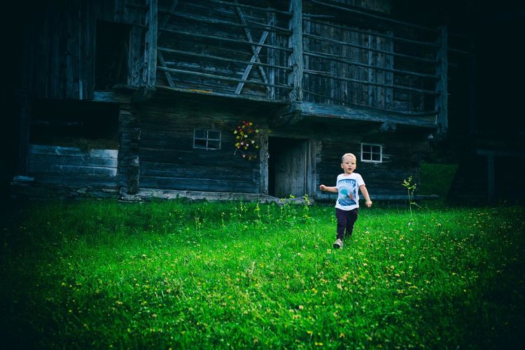 EyeEm Selects Running Grass Full Length Green Color One Person Outdoors Healthy Lifestyle Toddler  Austria Mountains Kid Nikon Nikonphotography Nikond750