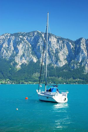 Mountain Nautical Vessel Scenics Nature Beauty In Nature Water Mountain Range Tranquil Scene Transportation Blue Mode Of Transport Tranquility Day Idyllic Outdoors Sky Sea No People Waterfront Attersee Austria Upper Austria  Sailing Boat Sailing Ship Turquoise