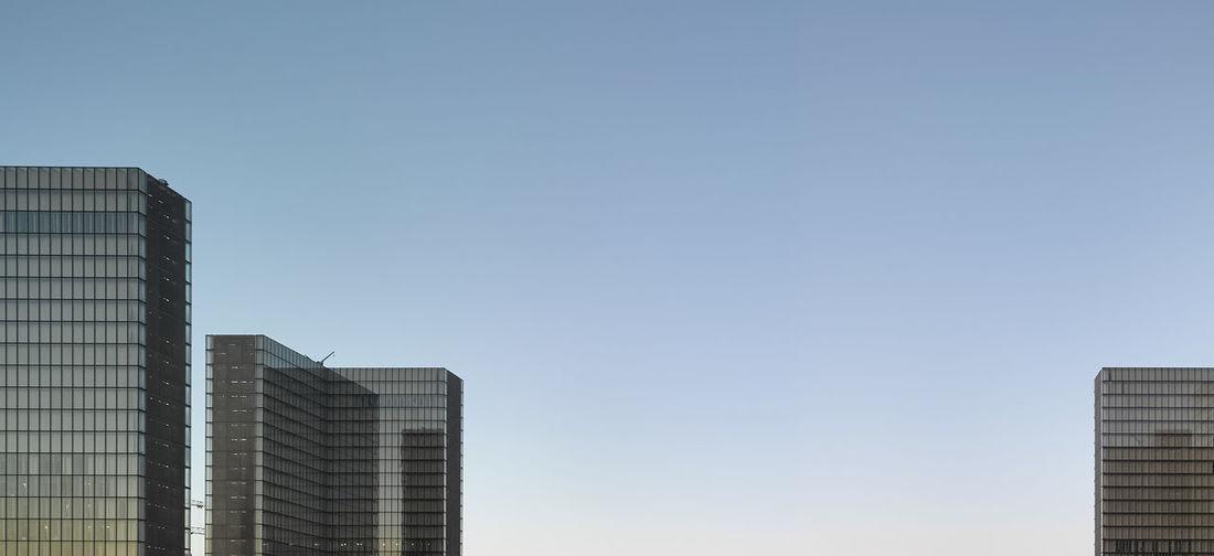 Modern skyscrapers against clear sky