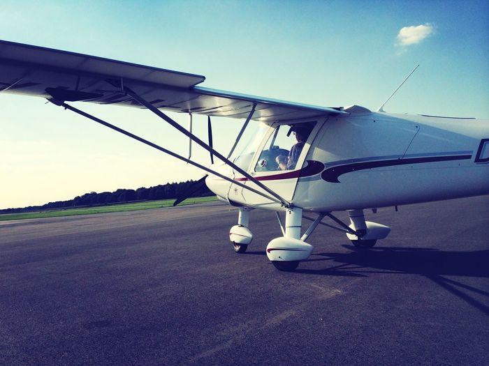 Biplane of airport runway