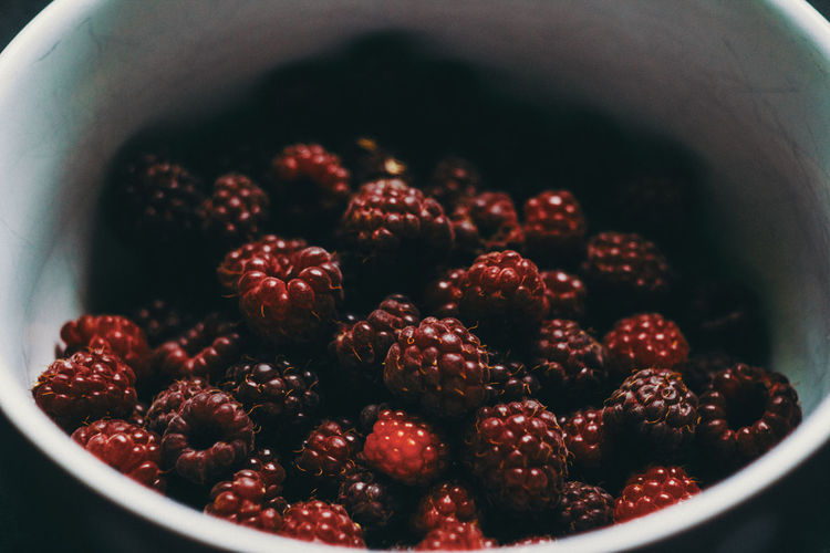 Close-up of strawberries in bowl