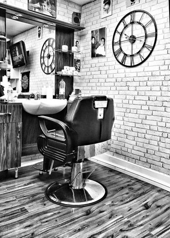 Chair Brick Wall Clock Indoors  Barber Furniture No People Old-fashioned Seat Time Day Clock Face EyeEm Best Shots