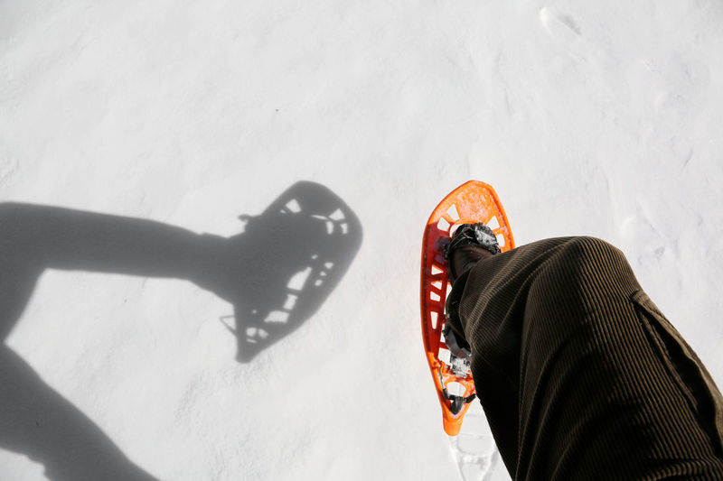 white snow and a snowshoe with shadow in mountain Adventures Excursion Snowshoe Winter Adventure Cold Equipment Extreme Sports Mountains Shoes Snow Snow Shoe Snow Shoe Paws Snow Shoes Snowshoe Trip Snowshoeing Snowshoes Sport Sport Equipment Sporting Sportwear
