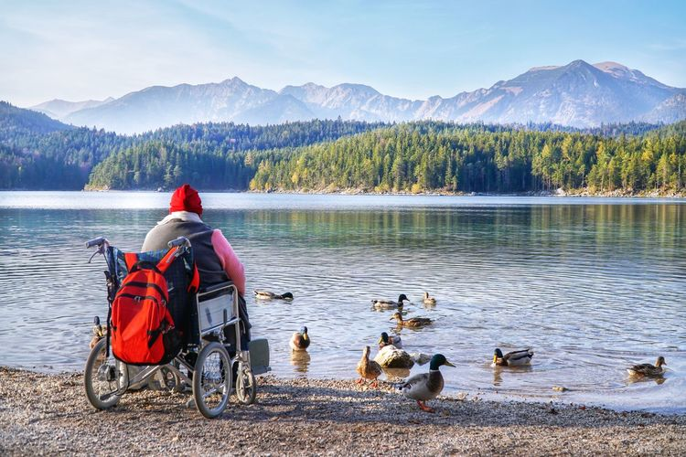 Rear view of person sitting on wheelchair at lake against mountains