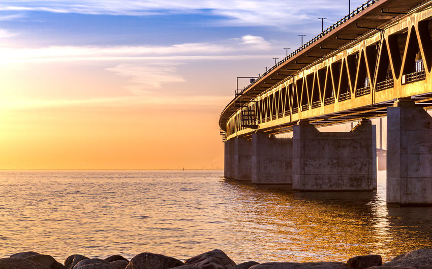Golden bridge EyeEmNewHere Architecture Bridge Built Structure Cloud - Sky Nature Sky Steel Sunset Water öresund öresundsbron