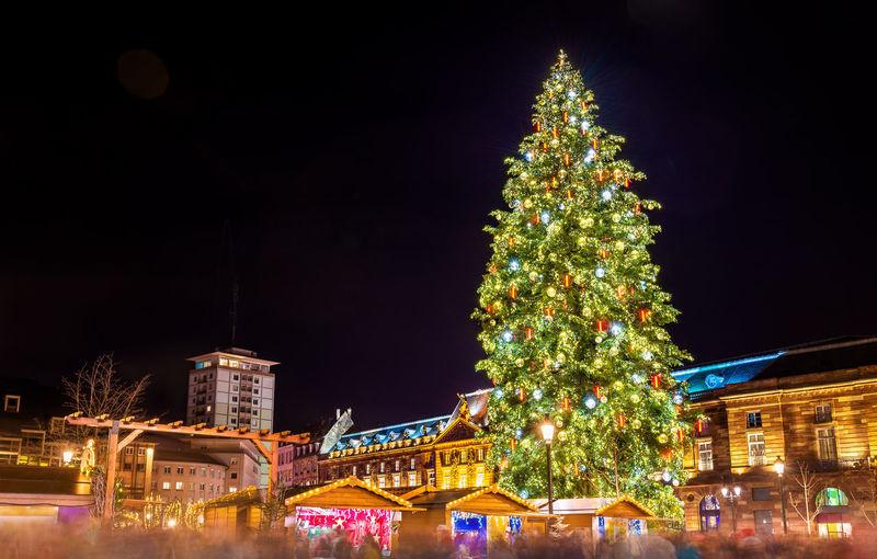 Illuminated christmas tree against building at night
