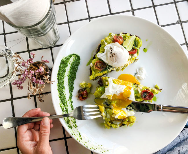 Avocado toast Avocado Toast  Eating Hipster Cafe Poached Eggs  Healthy Breakfast Clean Eating Healthy Eating Food And Drink Freshness Food Plate Wellbeing Breakfast At The Beach Fork Meal Breakfast Kitchen Utensil Eating Utensil Avocado