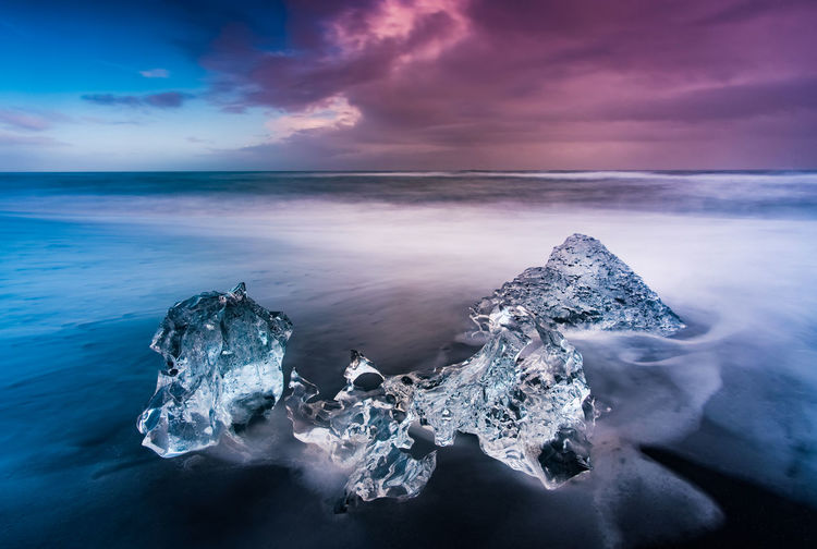 Jökulsarlon, Iceland Beauty In Nature Cloud - Sky Cold Temperature Crystal Frozen Glacier Horizon Over Water Ice Iceberg Iceberg - Ice Formation Idyllic Nature No People Outdoors Physical Geography Rock - Object Scenics Sea Sky Sunset Tranquil Scene Tranquility Water Wave Winter