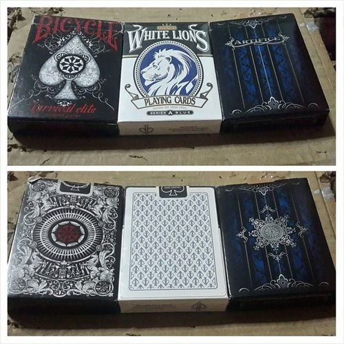 My top 3 decks (Rare) 1. Bicycle Karnival Elite 2. White Lions Series A Blue 3. Artifice 1st Edition Blue ellusionist @ellusionist Artifice Thebluecrown WhiteLions davidblaine bigblindmedia playingcardart playingcarddesign