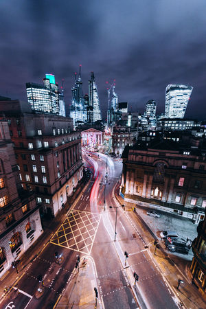 Bank, London. Architecture Architecture_collection Check This Out City Cityscape Colors Exploring EyeEm EyeEm Best Shots London Nightphotography Red Transportation Travel Travel Photography Building Exterior Explore High Angle View Illuminated Long Exposure Night Skyscraper Travel Destinations Urban Urban Skyline