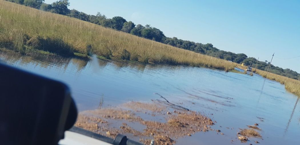 About to enter stretch of flooded road Driving Flood Flooding Flooded Road Africa Namibia Caprivi Okovango Okovango River EyeEm Selects Water Tree Sky Windshield Car Point Of View Windscreen Windshield Wiper