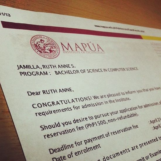 """One down brotha! More to go. :)) But at least, yeah. ComSci then qualified din sa Accountancy (which was really unexpected). Tas yung IT at Psychology din. :"""""""") And others. :-"""" Haha. Thanks and praise be to God! Mit Mapua Entranceexam Passed"""