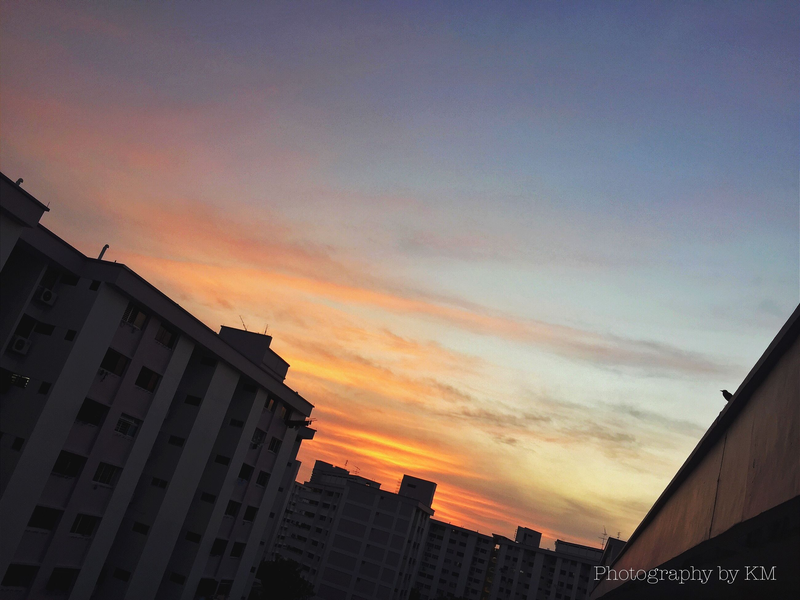 building exterior, architecture, built structure, low angle view, sunset, sky, city, building, residential structure, residential building, orange color, silhouette, cloud - sky, high section, house, outdoors, dusk, no people, cloud, city life