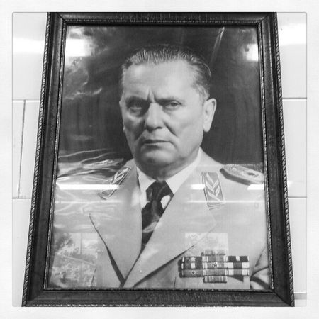 Tito watching over us while working. Bigbrother Serbia Kikinda Frowning badmorning Yugoslavia