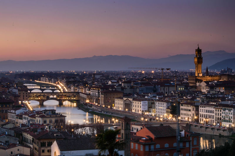 Architecture Bridge - Man Made Structure Building Exterior Built Structure City Cityscape Color Europe Firenze Firenze, Italy Florence Florence Italy High Angle View Illuminated Italy No People Outdoors River Sky Sunset Sunset_collection Sunsets Travel Travel Destinations Travel Photography EyeEmNewHere