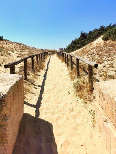 Footpath leading towards beach against clear blue sky