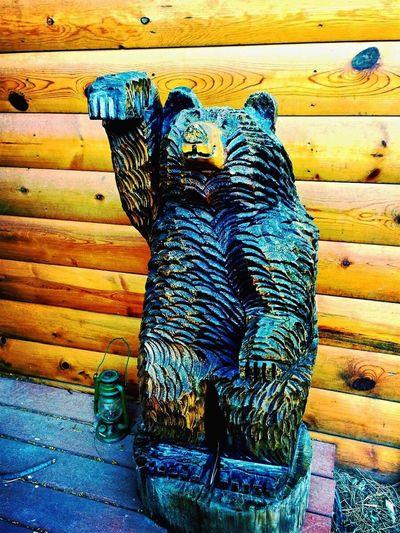 Ruidoso, NM Bear Carved Wood Log Cabin