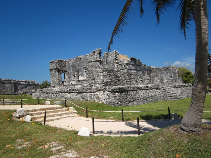 Tulum Cancun Sky Architecture Built Structure The Past History Plant Tree Nature Clear Sky Day Building Exterior Travel Blue No People Land Grass Travel Destinations Ancient Old Ruin Tourism Outdoors Ancient Civilization