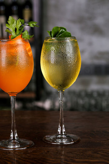 Close-up of cold drinks on table