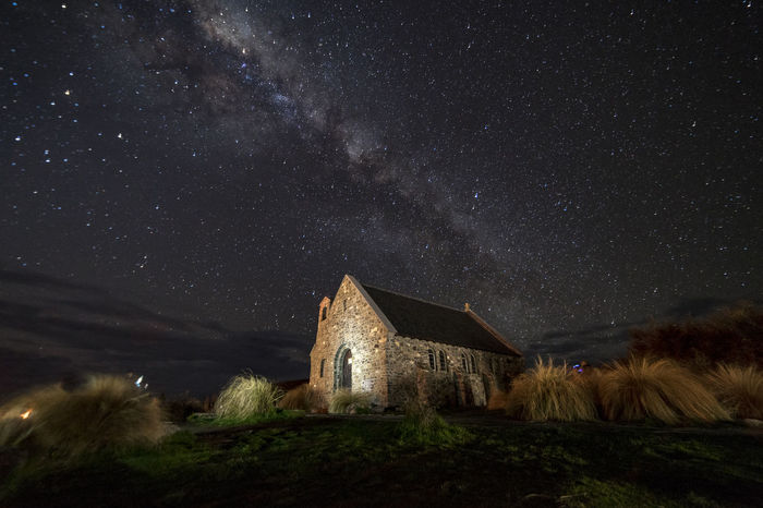 Milky way over Church of the Good Shepherd, Lake Tekapo, New Zealand Church Nightphotography Architecture Astronomy Building Building Exterior Built Structure Galaxy Landmark Landscape Milky Way Nature Night No People Place Of Worship Religion Sky Skyscraper Space Spirituality Star Star - Space Star Field Starry Night The Good Shepherd
