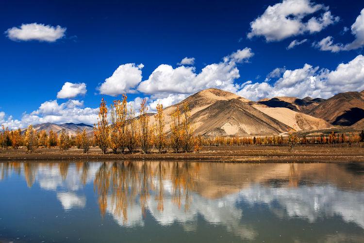 Mountain Water Lake Blue Reflection Sky Cloud - Sky Landscape