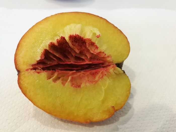 Close-up of lemon slice in plate