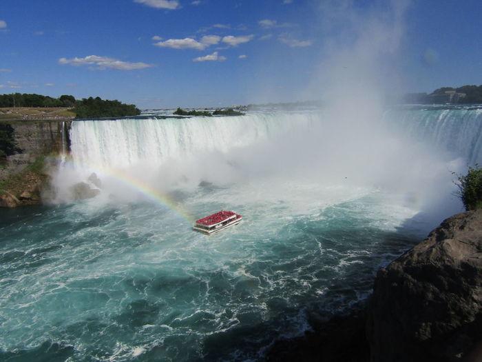 mist over Niagara Falls Tour Boat Boat Mist Water Niagara Falls Rainbow Sky Waterfall Blue Nautical Vessel High Angle View Rapid Rushing Flowing Water Flowing Stream - Flowing Water Splashing
